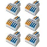 QitinDasen 6Pcs Premium KV426 Palanca Tuerca Cable Conector Set, 2 en 6 fuera Conductor Compacto Cable Conector, Rápido Resorte Conector Bloque Terminal