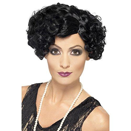 Amakando Perruque Charleston Années 20 Perruque en Noir Faux Cheveux Bouclées Courts Cancan Soirée Costume Accessoire
