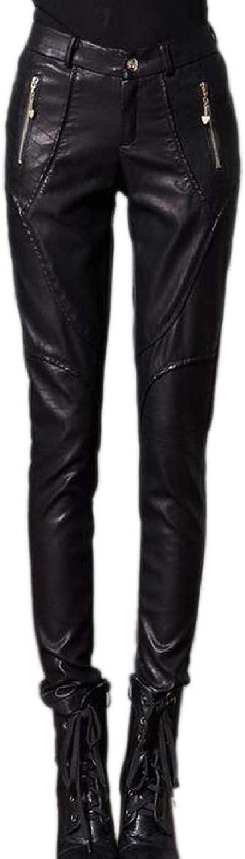 PujinggeCA Women High Waist Zip Moto Faux Leather Fleece Winter Legging Pant