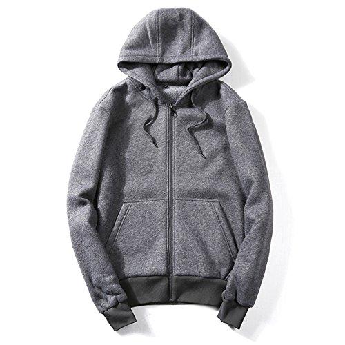 KINDOYO Homme Mode Zipper Sweat-Shirt Couleur Unie à Capuche Manches Longues Pulls Manteau Hoodie en Tricot Sweater Manteau, Marron/Gris/Noir/Bleu/Vert