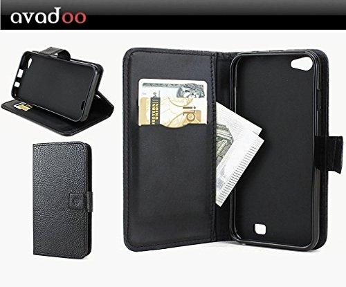 avadoo® Archos 50 Helium Plus Flip Case Cover Tasche Schwarz mit Magnetverschluss und Dualnaht als Cover Tasche Hülle