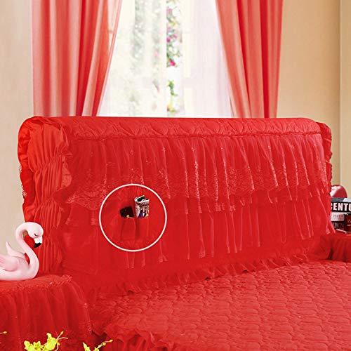 WHBDJ Cubierta de noche completa de encaje de algodón con sujeción engrosada para mesita de noche de cuero, bolsa suave a prueba de polvo sobre cubierta protectora, rojo, colcha de 2 m
