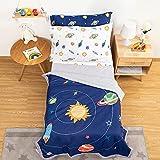 TILLYOU 5-Piece Space Toddler Bedding Set for Boys,...