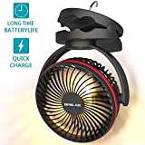 OPOLAR 5000mAh Camping Lantern Clip On Fan with Hanging Hook, 4 Speeds Quiet Airflow Personal Fan with 35 Hours Work Time for Tent, Hurricane Emergency, Battery Operated Desk Fan for Home & Office (Renewed)