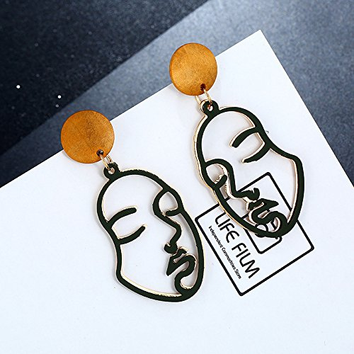 Earrings for Women Best Gifts Retro Art Abstract Cutout Face Dangle Drop Gold Earrings Lady Hollow Jewellery Sets for St.Patrick's Day in (Green)