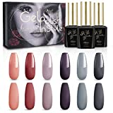 Kiaitre UV Nagellack Gel Nagellack Set- 6 Farben Soak Off LED Nageldesign Kit mit Geschenkbox (10ml)