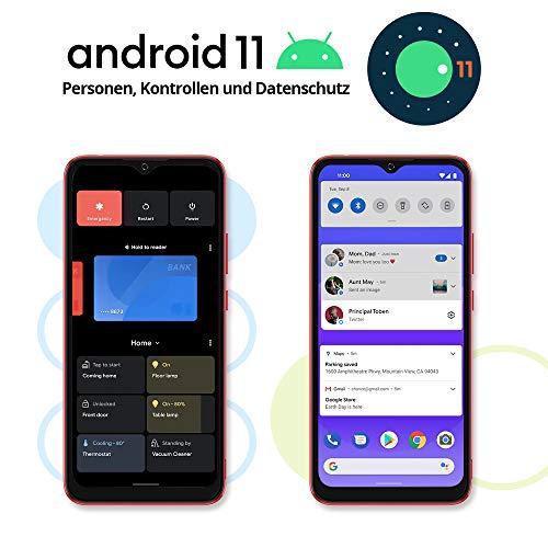 Blackview A70 (E) Android 11 Smartphone ohne Vertrag, 6.517 Zoll HD mit 5.380mAh Batterie, 3GB RAM+32GB Speicher Octa-core, 13MP+5MP Kamera, Fingerabdruck Sensor, 4G Handy Dual SIM Rot - 2