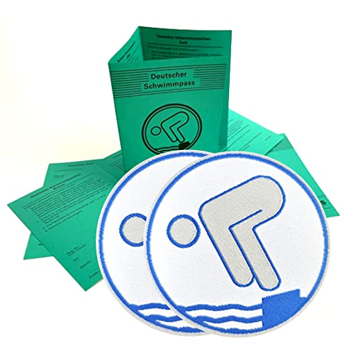 4er Set 2 x Deutscher Schwimmpass mit 2 x Silber Abzeichen zum aufbügeln I Schwimmabzeichen für Kinder und Erwachsene I offizielle Urkunde in grün inkl. DOSB-Bestätigung aktuelle Version 2021