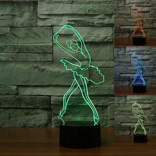 3D Illusion El Ballet Lámpara luces de la noche ajustable 7 colores LED Creative Interruptor táctil estéreo visual atmósfera mesa regalo para Navidad