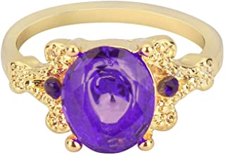 winsopee Women Fashion Round Sapphire Ring Band Gold Filled Promise Wedding Ring Jewelry Decors