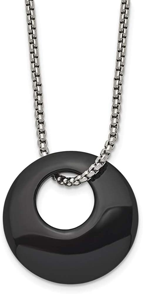 ICE CARATS Stainless Steel Black Onyx Circle 18 Inch Chain Necklace Pendant Charm Natural Stone Wood Fashion Jewelry for Women Gifts for Her