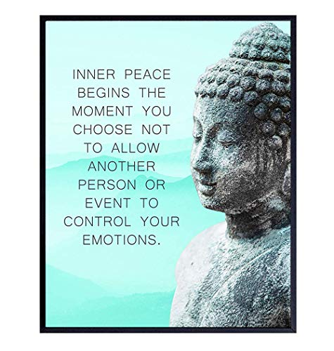 Buddhism Buddha Statue Art Print - Inspirational Motivational Zen Quote Wall Decor for Bathroom, Home, Apartment, Spa, Yoga or Meditation Room - Unique Gift for New Age Fan Women - 8x10 Blue Picture