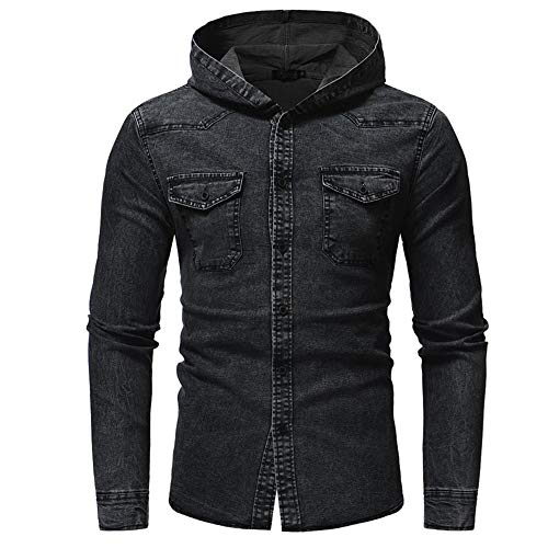 Men Hoodie Long Sleeve Denim Shirt with Hood Men Modern Retro Washed Casual Classic Denim Shirt Western Cowboy Style top with Chest Pockets Button Lapel Breathable Party t Shirt
