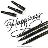 3 Brush Pen Pennarello Nero a Punta Doppia per Lettering Penne Calligrafia. Pennarelli Doppia Punta Fine e Punta Grossa a Pennello Marker Nero per Disegno