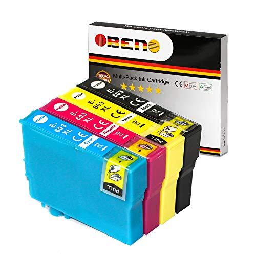 OBENO -1 Set- 603XL Cartuccia di inchiostro compatibile 4 PACCHETTI per Expression Home XP-2100 XP-2105/3100/3105/4100/4105 WorkForce WF-2810DWF/ 2830DWF/ 2835DWF(1 Nero, 1 Ciano, 1 Magenta, 1 Giallo)