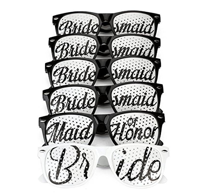 [6 PACK] Bachelorette Party Wedding Sunglasses Set for Bridal Party - Bridal Party Glasses Favors - Fun Photo Props Novelty Ideas (Black)