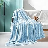 Exclusivo Mezcla Plush Fuzzy Large Fleece Throw Blanket (50' x 70', Baby Blue)- Soft, Warm& Lightweight