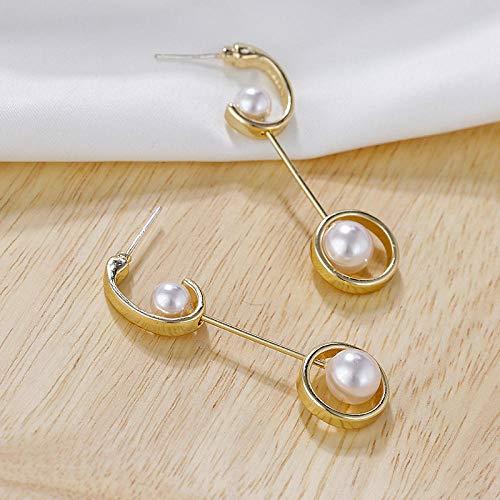 Erin Earring Diseño Único Elegantes Pendientes Largos De Metal Dorado para Mujeres Niñas Elegantes Pendientes De Perlas Redondas Regalo De Joyería