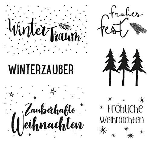 Rayher 50221000 Clear Stamps-Weihnachtsgrüße, 102.5x97mm, 6 Motive, SB-Btl. 1Bogen, Weiß, Normal