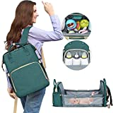 HOTBEST Diaper Bag with Bassinet Changing Station Backpack Portable Baby Bed Mommy Bag Travel Foldable 900D Waterproof Washable Crib Infant Sleeper Nest for Girls Boys (Green)