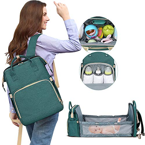 HOTBEST Diaper Bag with Bassinet Changing Station Backpack Portable Baby Bed Mommy Bag Travel Foldable 900D Waterproof Washable Crib Infant Sleeper Nest for Girls Boys (A)