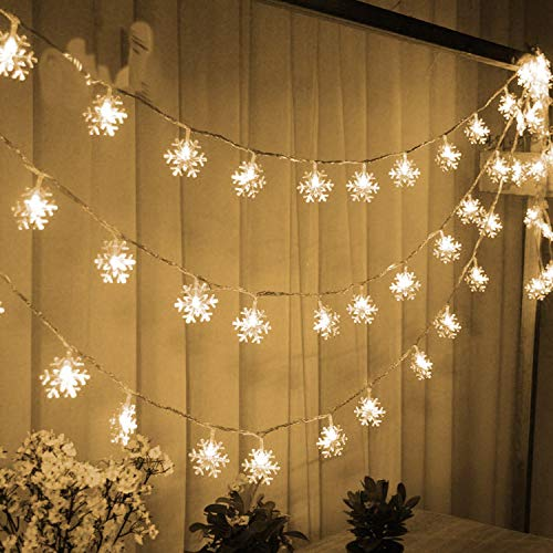 WesGen Christmas Lights?Snowflake String Lights Battery Operated Waterproof 20ft, 40 LED Fairy Lights for Xmas Garden Patio Bedroom Party Decor Christmas Decorations,Warm White