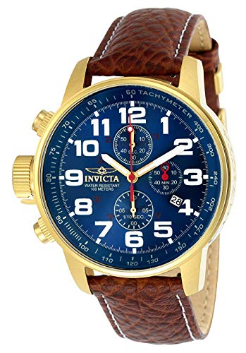 Invicta Men's I-Force Gold Tone Stainless Steel Quartz Watch with Brown Leather...