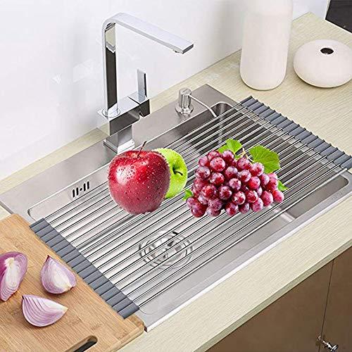 Escurreplatos enrollable para fregadero de cocina [18 tubos de acero inoxidable] [silicona...