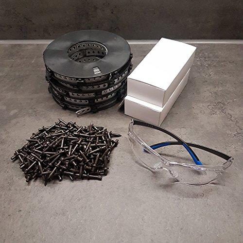 powerpreis24 Fixpin LB400 Set 400 Fixpin 4x18 mit 50m Montagelochband 12x0,75mm und Schutzbrille