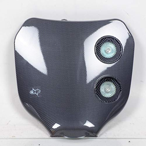 ONE BY CAMAMOTO MASCHERINA FARO per Moto da Enduro/Cross/Motard/Naked - Installazione Universale, Comprensivo di Lampadine e di Staffaggio e Fasce Elastiche. (CARBON)