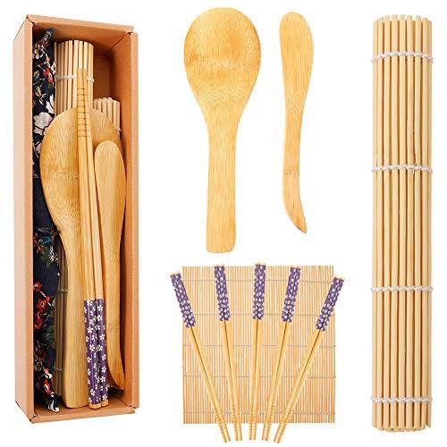 Opopark 10 Piezas Herramienta para Hacer Sushi de Bambú Kit para Hacer Sushi de Bambú
