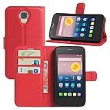 HualuBro Alcatel Pixi 4 (5 Zoll) 3G Hülle, Leder Brieftasche Etui Tasche Schutzhülle HandyHülle [Standfunktion] Lederhülle Flip Case Cover für Alcatel OneTouch Pixi4 5.0 Zoll 3G 5010D (Rot)