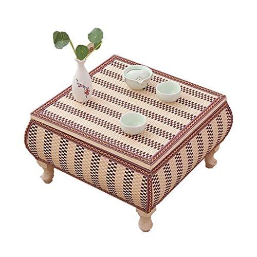 Tables Basse en Bois Massif Basse en Tatami Salon Basse en Baie Vitrée en Rotin De Rangement for La Maison Basses (Color : Brown, Size : 60 * 60 * 30cm)