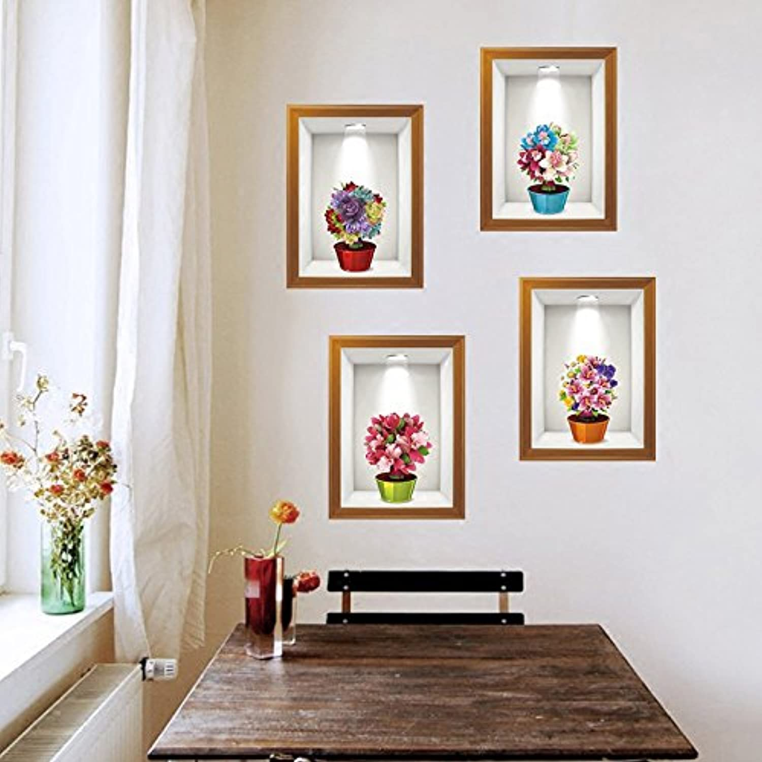 d40ae57159181 Znzbzt Emulation Flower Picture Frame Sticker Warm and Creative Wall ...