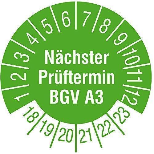 TE-Office 500 Stück Prüfaufkleber Prüfplaketten 18-23 Nächster Prüftermin BGV A3 grün Rolle 1-bahnig 30 mm Durchmesser laminiert abriebfest