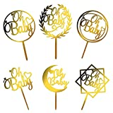 LIHEJY Oh Baby Cake Topper, Gold Acrylic Baby Shower Cake Topper for Boys and Girls (6 Pack)