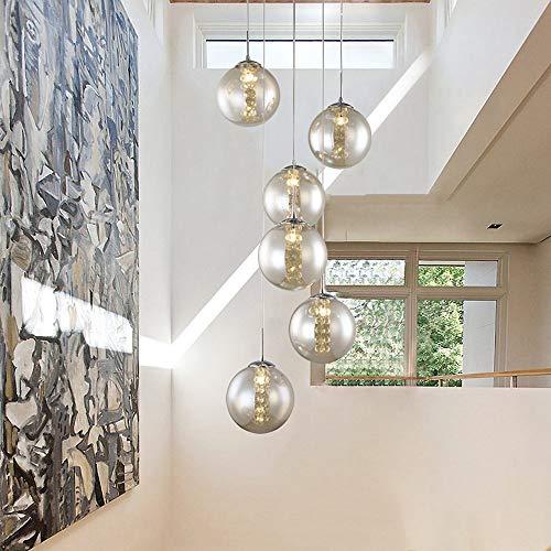 Moderne Hängelampe Kugel Glas drehbar-Treppenleuchte K9 Crystal Pendelleuchte Retro LED G14 Kristall-Lampe Esstischleuchte Höheverstellbar Pendellampe für Wohnzimmer Schlafzimmer,Smokegray,6lights