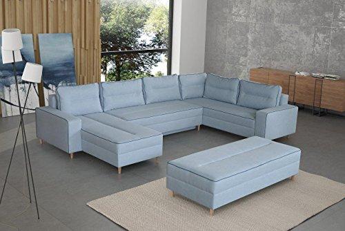 mb-moebel Ecksofa Eckcouch mit Bettkästen mit Schlaffunktion Couch Wohnlandschaft U-Form Polsterecke Blau LACO I mit HOCKER (Ecksofa Rechts) - 5
