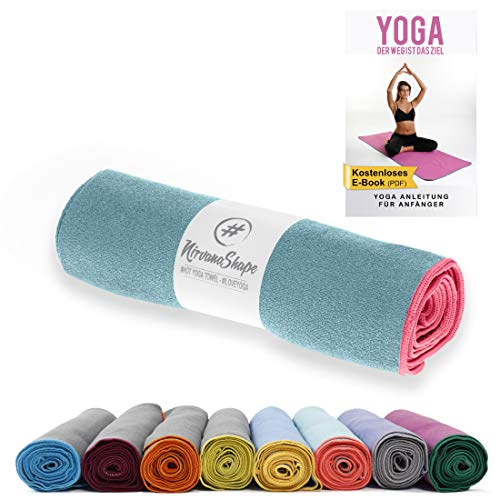 NirvanaShape ® Toalla de Yoga Antideslizante | Toalla de Hot Yoga con Botones Antideslizantes | Toalla de Yoga higiénica de Microfibra [ 185 x 63 cm ]