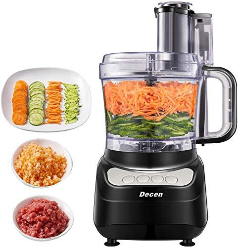 Decen Robot da Cucina, 2L Robot da Cucina Multifunzione, 4 velocità Regolabili Tritatutto da Cucina Elettrico, Food Processor Adatto per Carne, Spezie, Frutta, Verdura, Impastare