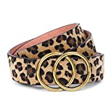 Womens Leopard Belt with Removable Gold Double Ring Buckle for Jeans by SANSTHS,S