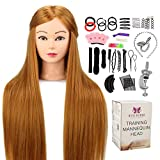 Neverland Beauty 30' Têtes d'exercice Tête À Coiffer 100% de Cheveux Synthétiques Coiffure Cosmétologie Pratique Mannequin Poupée avec Support+Ensemble de Tress #27