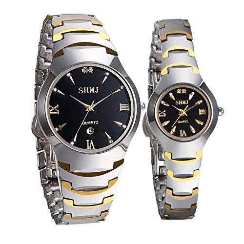 JewelryWe 2pcs Partner Armbanduhr Analog Quarz Kalender Wolframcarbid Band Paar Uhren für Herren Damen, Gold Silber