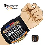 SUNGYIN Magnetisches Armband Mit 20 Leistungsstarken Magneten Bestes Männer Geschenke Magnetarmband Handwerker, Vater Tischler Geschenke für Halten Werkzeuge Schrauben Nägel Bohrernn