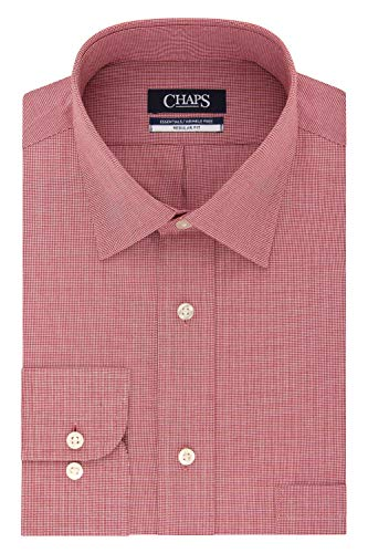 Chaps Men's Dress Shirts Regular Fit Check Spread Collar, Tomato, 16'-16.5' Neck 34'-35' Sleeve (Large)