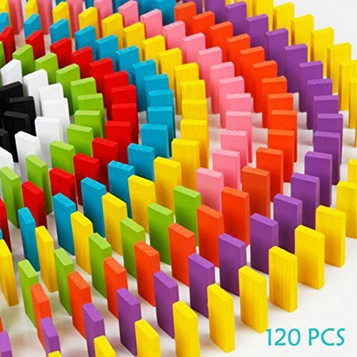 ULTunite 120pcs Wooden Dominos Blocks Set Kids Game Educational Play Toy Domino Racing Toy Game