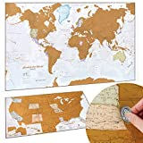 Scratch Off Map of The World Poster - Travel Gift + BONUS USA Scratch Map - Maps International - 50 Years of Map Making - Cartographic Detail Featuring Country & State Borders