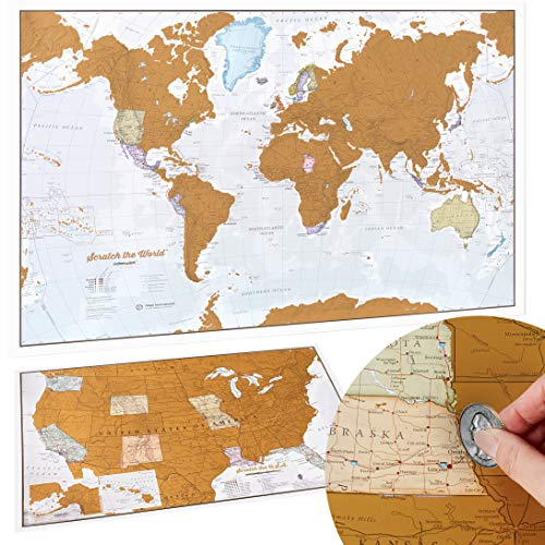 Scratch Off Map of The World Poster with Bonus USA Scratch Map