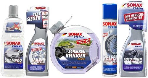 Kit de shampoing de nettoyage SONAX Xtreme - Pour l'intérieur et l'extérieur du véhicule, les jantes, les pare-brise et les pneus