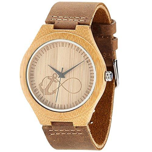 WONBEE Relojes de madera de bambú infinito Design con correa de piel de...